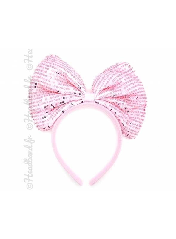 Serre-tête Minnie sequins rose pâle
