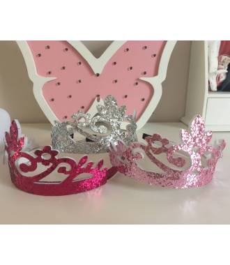 Couronne fille glitter rose clair