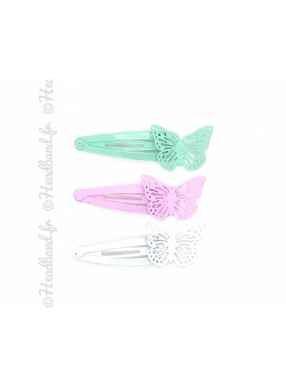 Pinces papillon pastel x 3