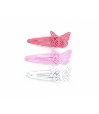 Pinces papillon colorées x 3