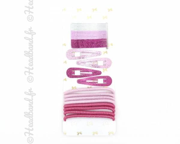 Pack accessoires cheveux fille rose x 30