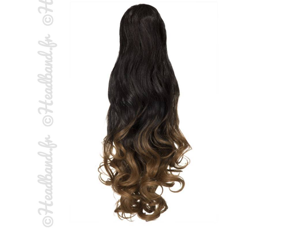 Postiche ondul ombr hair 55 cm - Chatain fonce dore ...