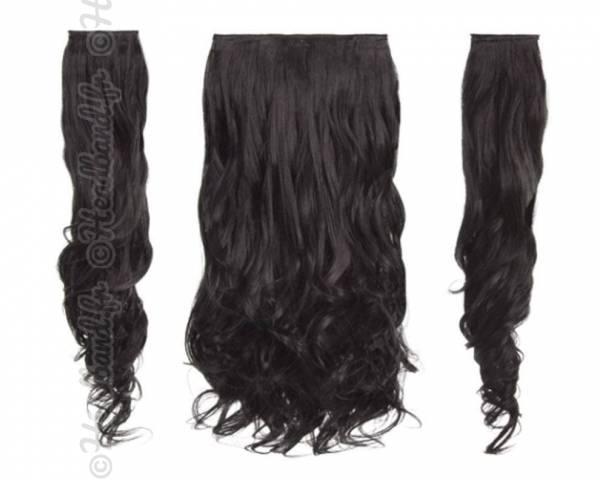 Kit extensions cheveux 3 bandes ondulées 50 cm - Brun