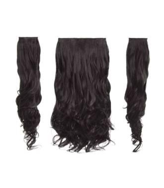 Kit extensions cheveux 3 bandes ondulées 50 cm - Châtain foncé