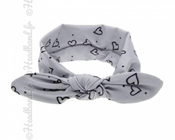 Headband bébé motif coeur gris