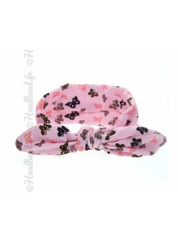 Headband bébé papillon rose et noir