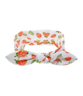 Headband bébé motif fleuri orange