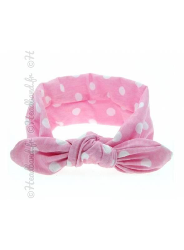 Headband bébé pois blanc et rose