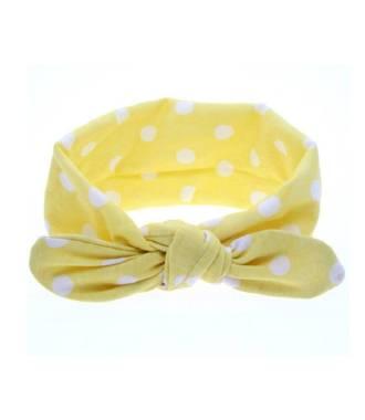 Headband bébé motif pois jaune et blanc