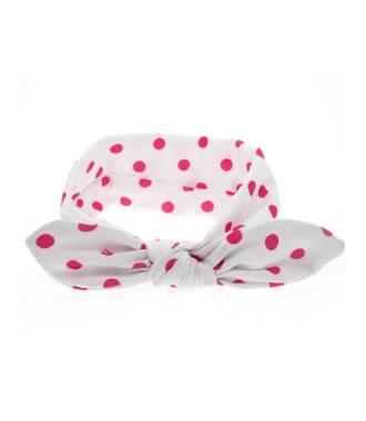 Headband bébé pois fushia et blanc