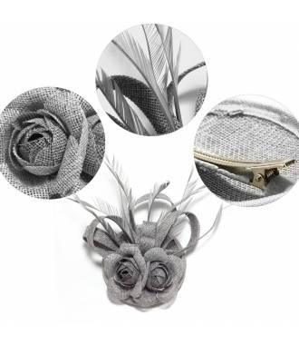 Chapeau bibi double fleur gris