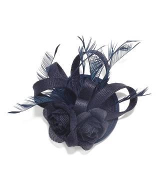 Chapeau bibi double fleur bleu
