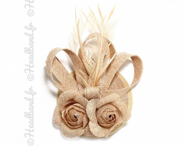 Chapeau bibi double fleur nude