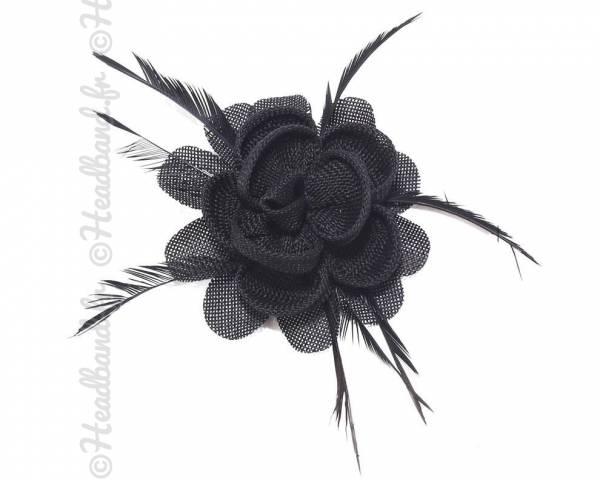 Barrette bibi rosette noire