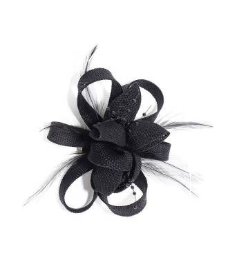 Bibi fleur clip noir en perles
