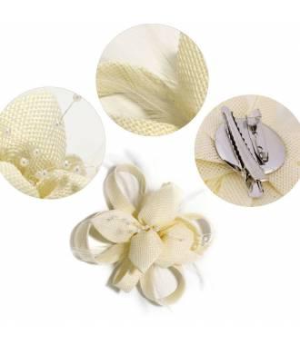Bibi fleur clip crème en perles