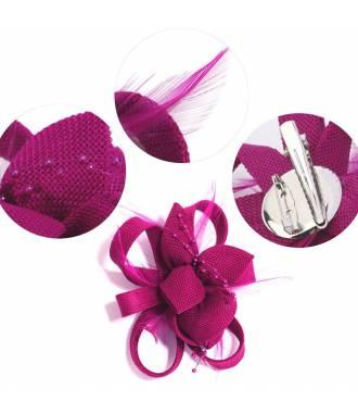 Bibi fleur clip fushia en perles