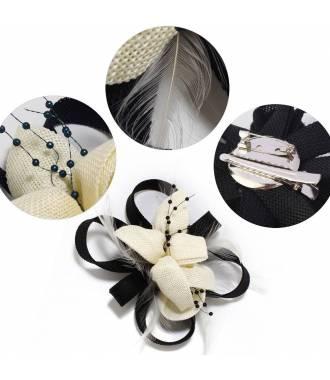 Bibi fleur clip noir et blanc en perles