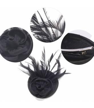 Mini chapeau fleur noir à clip