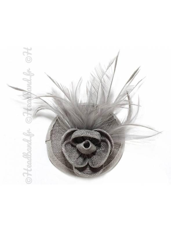 Mini chapeau fleur gris à clip