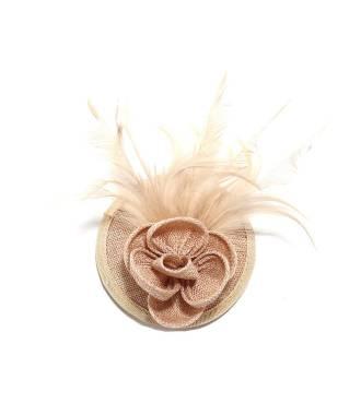 Mini chapeau fleur nude à clip