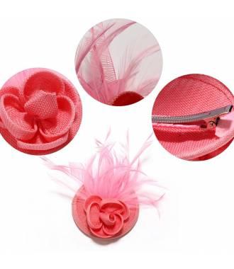 Mini chapeau fleur rose à clip