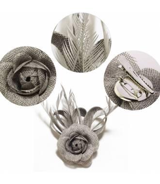 Fascinateur cérémonie gris à fleur