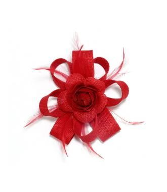 Fascinateur fleur à clip rouge