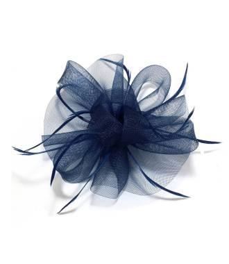Coiffe cocktail tulle ruban bleu