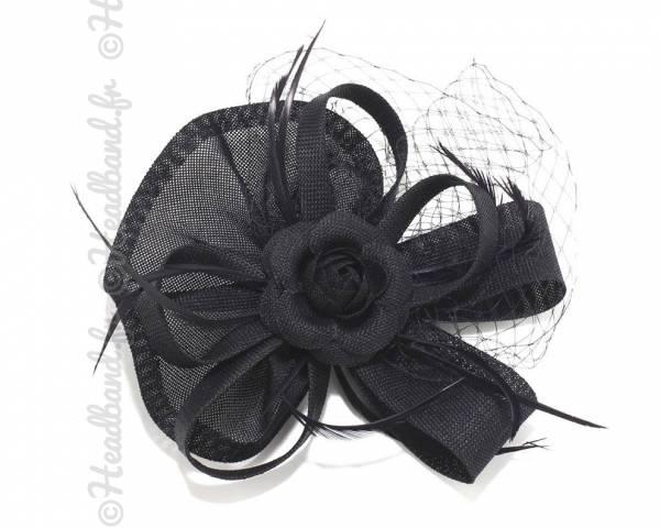 Chapeau sur pince à voilette noir