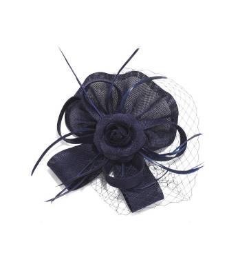 Chapeau sur pince à voilette bleu