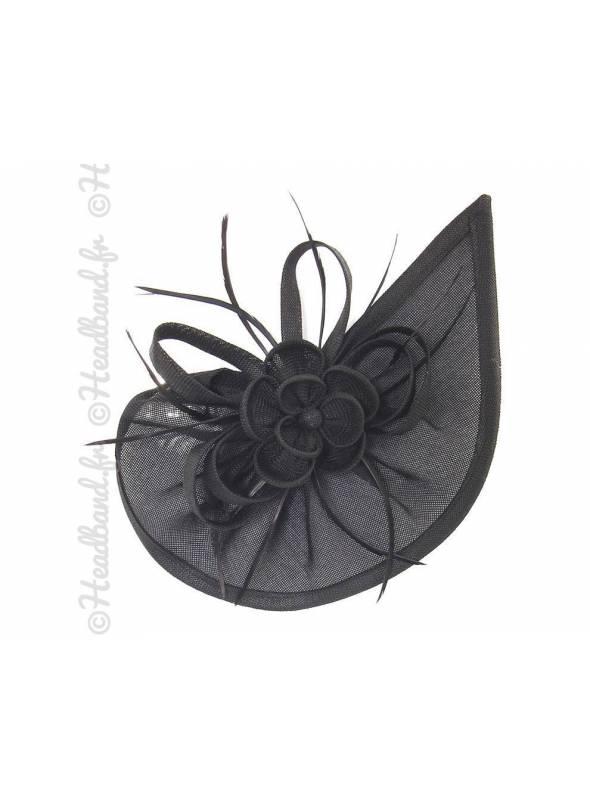 Chapeau rosette à plumes noir