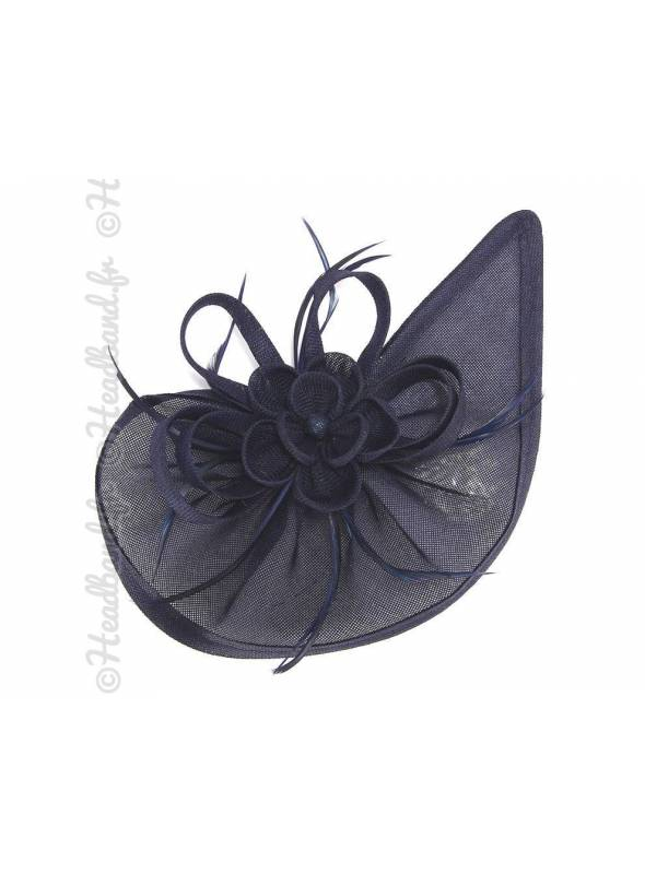 Chapeau rosette à plumes bleu