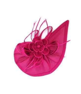 Chapeau rosette à plumes fushia