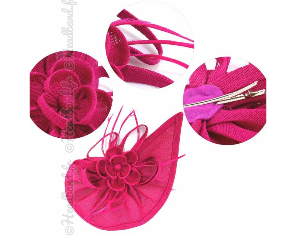 chapeau rosette plumes fushia. Black Bedroom Furniture Sets. Home Design Ideas