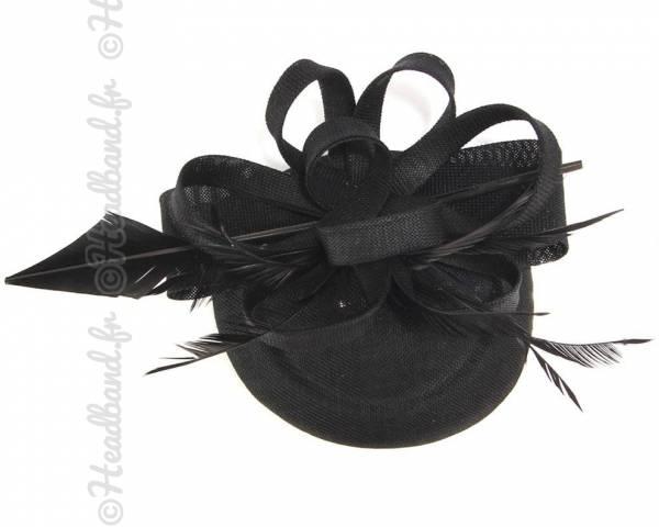 Chapeau chic grande plume noire