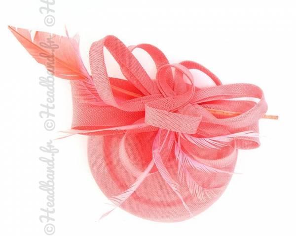 Chapeau chic grande plume pink