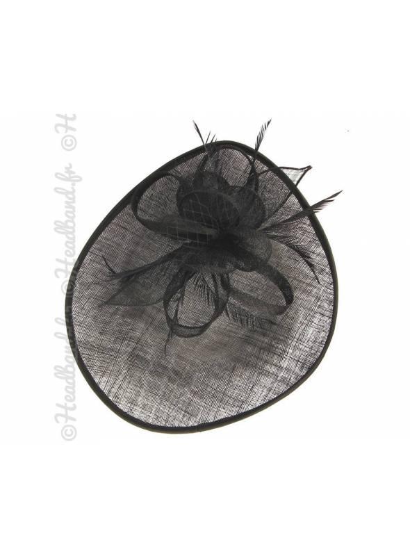 Chapeau décoré voilette et plumes noir