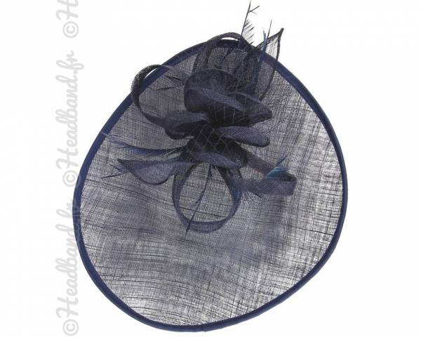 Chapeau décoré voilette et plumes bleu