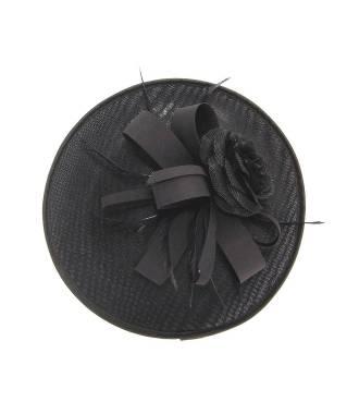 Chapeau mariage orné de plumes noir