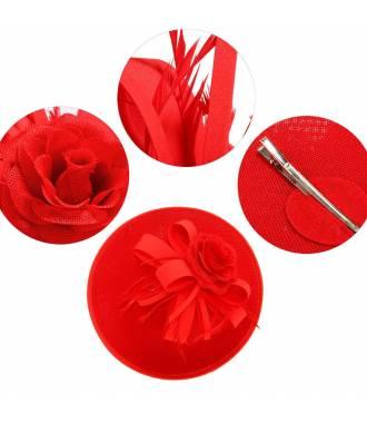 Chapeau mariage orné de plumes rouge