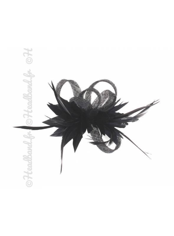 Bibi élégant à plumes noir