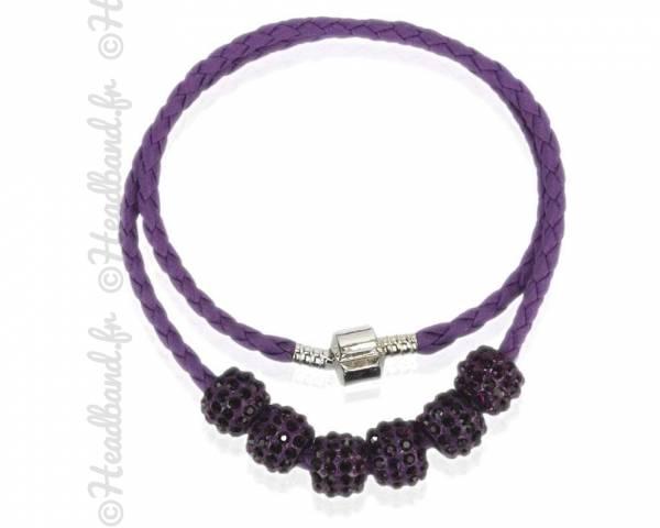 Collier torsadé simili cuir perles strass mauve