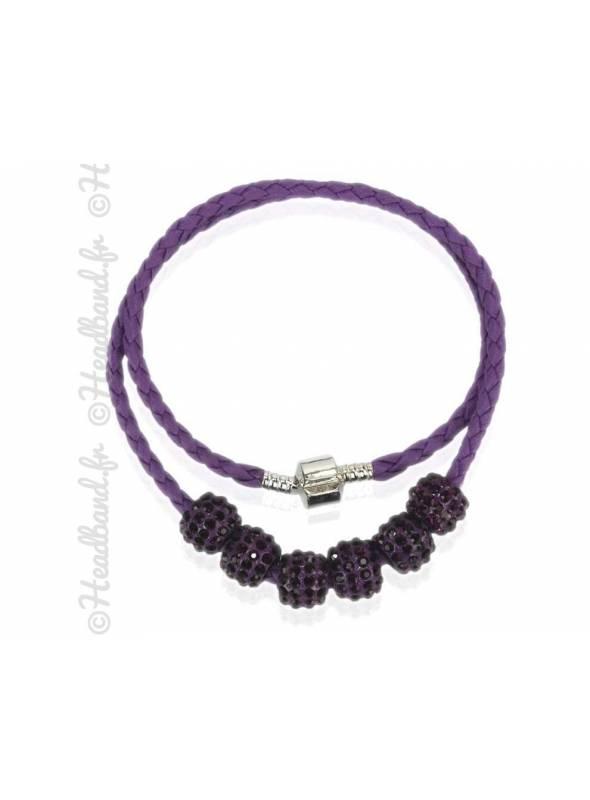 Collier bracelet simili cuir violet