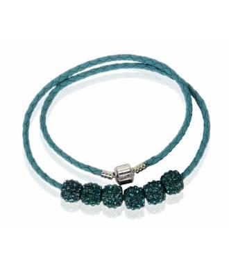 Collier bracelet simili bleu canard