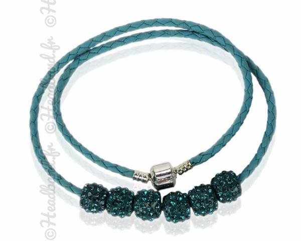 Collier torsadé simili cuir perles strass bleu canard