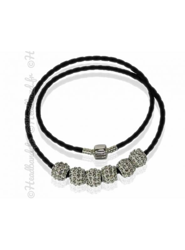 Collier bracelet simili cuir blanc
