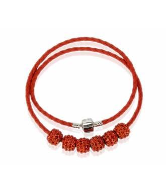 Collier bracelet simili cuir orange