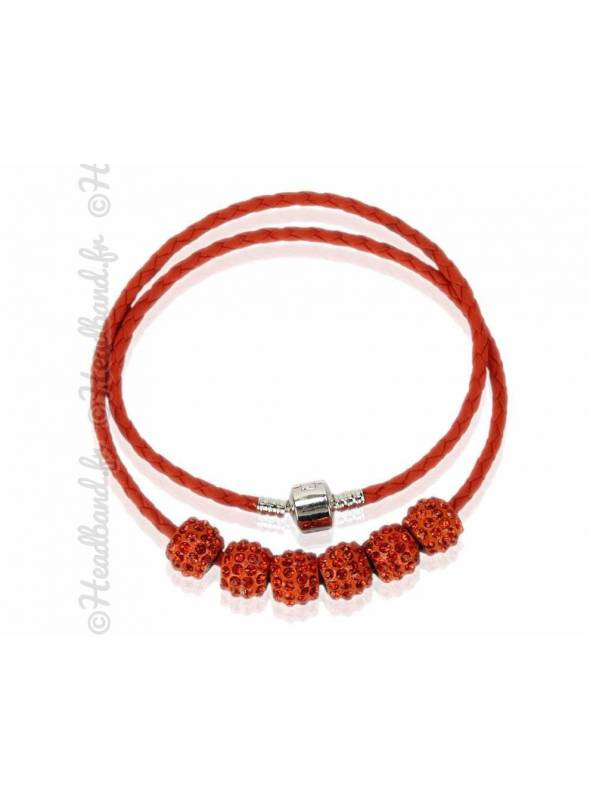 Collier bracelet simili cuir orange