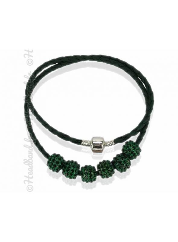 Collier bracelet simili cuir vert